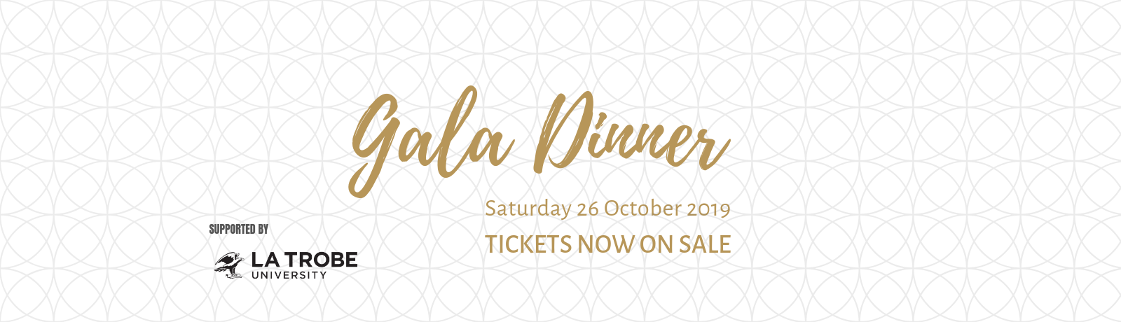 gala dinner banner with gold text