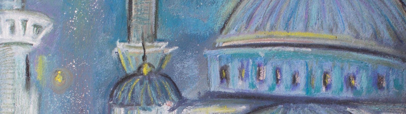 subheader for Ramadan exhibition with Blue Mosque artwork